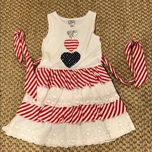 Cotton kids red white and blue dress. Size 6